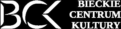 Białe logo Centrum Kultury Biecz