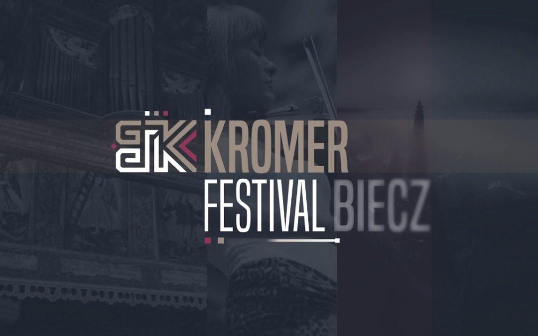 Grafika z logo Kromer Biecz Festival: w tle kolaż ze zdjęć miasta biecz i festiwalu