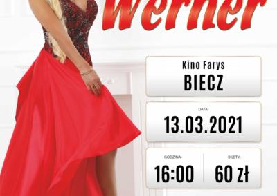 Plakat informujący o przełożeniu koncertu Teresy Werner: postać piosenkarki, data i godzina koncertu oraz miejsce