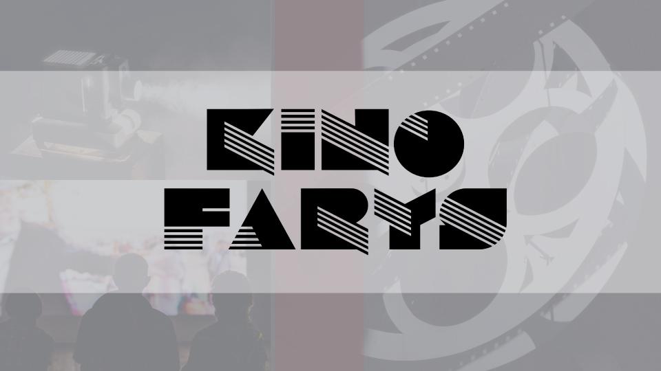 Grafika z logo Kina Farys; : w tle kolaż ze zdjęć przedstawiających krzesła kinowe, taśmę filmową