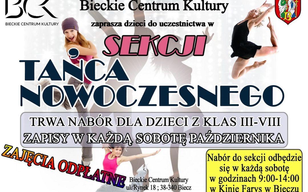 Plakat zapraszający do udziału w zajęciach z tańca nowoczesnego